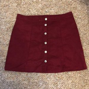 H&M button up suede skirt size 12 burgundy